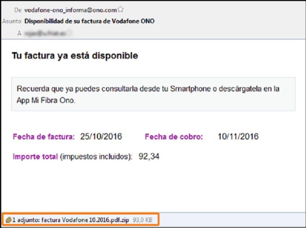 Alterta por un correo de Vodafone que contiene un virus